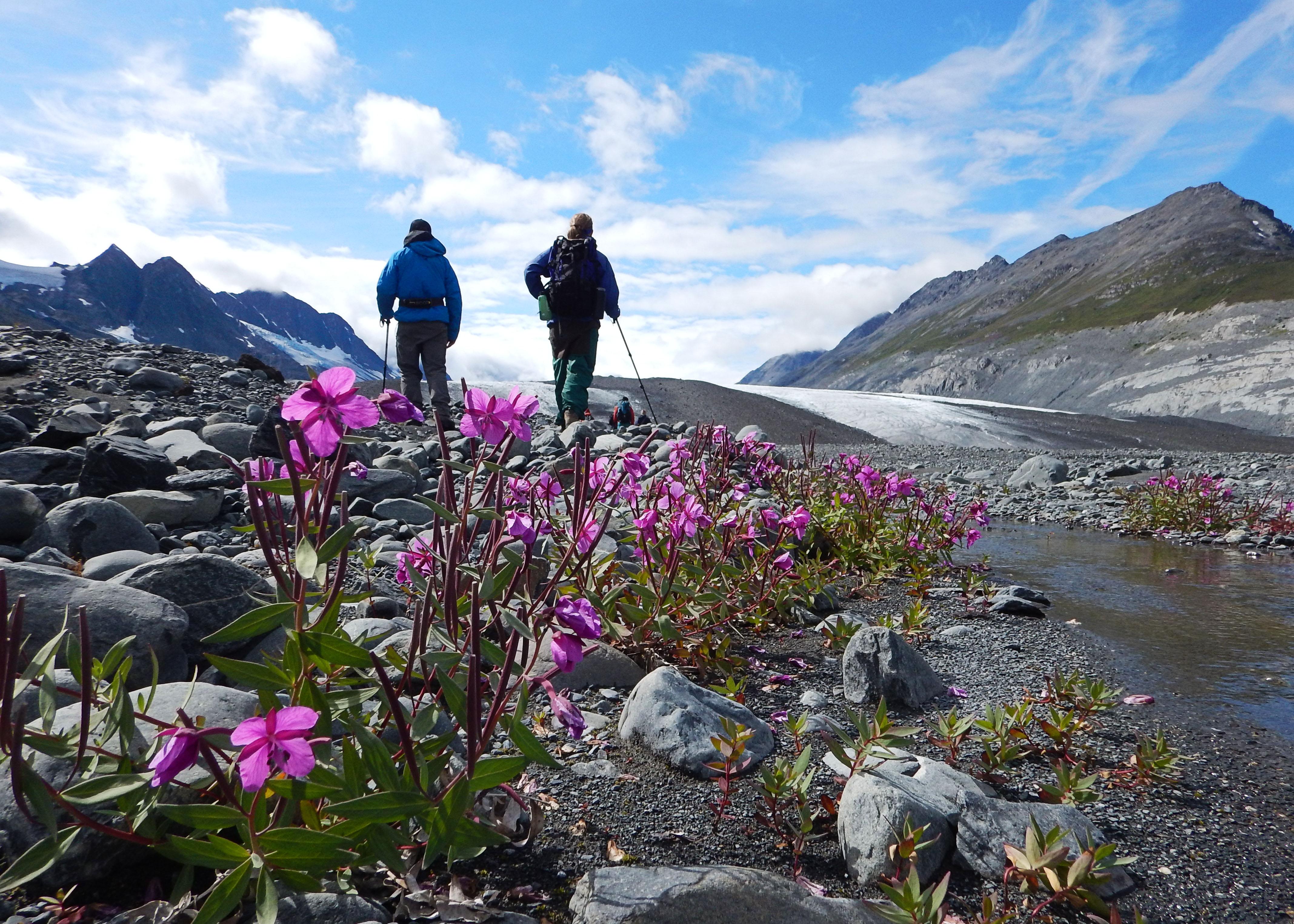 Hiking near a glacier in Alaska Photo by Liz Schultz