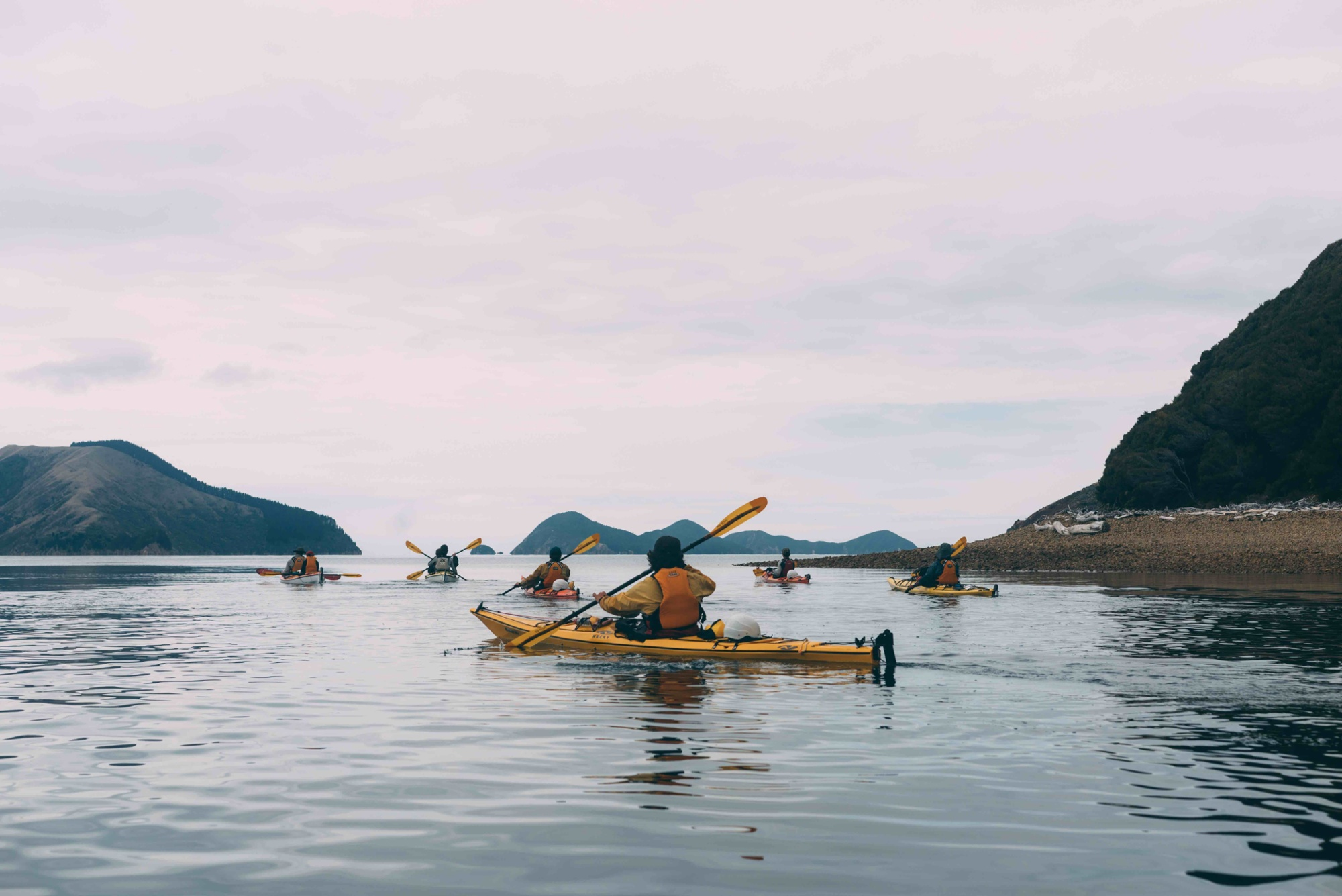 Group of students sea kayaking in New Zealand