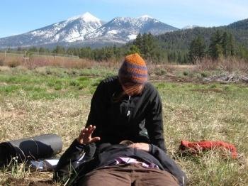 A wilderness first responder scenario photo by Pete Walka