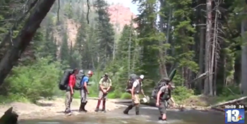 Students backpacking on a NOLS course