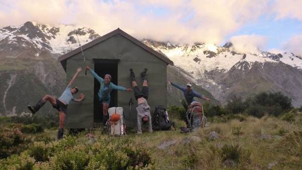 Inga Booiman and three friends at Liebig Hut in NZ's Aoraki-Mt Cook National Park