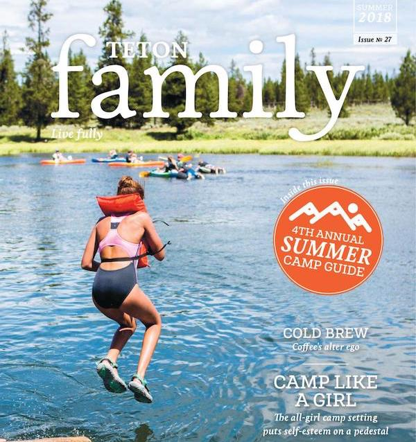 front cover of Summer 2018 Teton Family with girl wearing PFD jumping into a lake with kayakers in background
