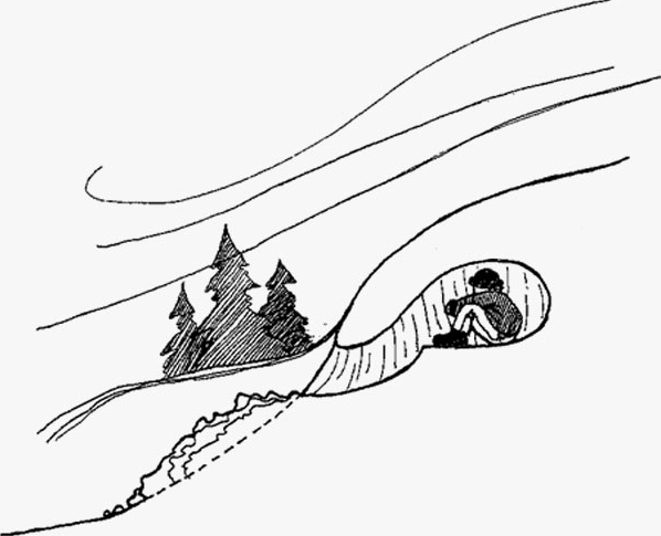 line drawing of a person in a snow cave