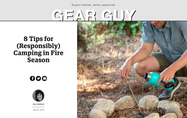 Gear Guy post titled 8 Tips for (Responsibly) Camping in Fire Season with image of camper pouring water on a fire