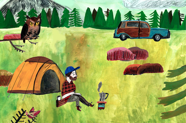 """Camping Alone"" artwork: man beside a tent with trees, mountains, and whimsical owl"