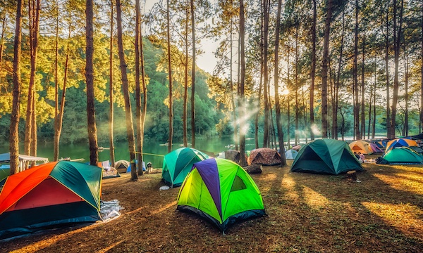 tents clustered near trees along the water with morning sun