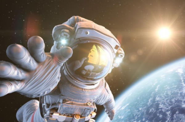 NASA astronaut in space, earth and sun in background
