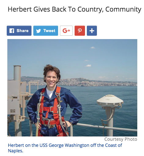 in a photo in the Transylvania Times, Gretchen Herbert smiles on board a Navy ship