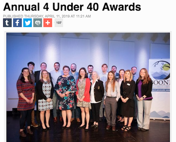 "2019 finalists for Boone, North Carolina Chamber of Commerce ""4 Under 40"" awards"