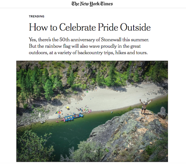 New York Times article on how to celebrate LGBTQ Pride Month with outdoor trips