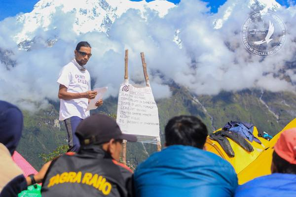Jagan Timilsina, founder of the Outdoor Education Project, teaches a lesson in the mountains of rural Nepal