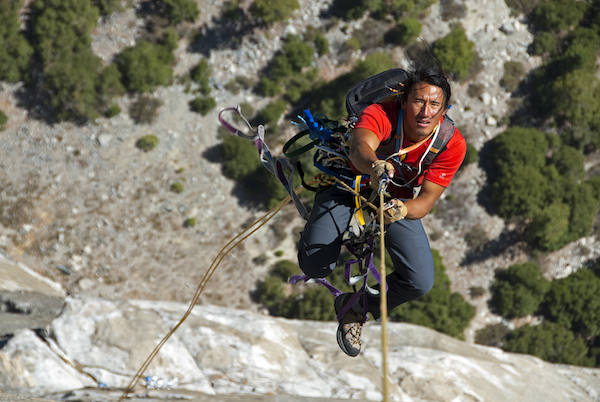 Jimmy Chin in action, climbing and filming Free Solo